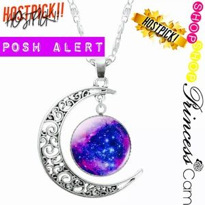 Jewelry - ✅🌙Crescent Moon Galaxy Glass Dome Necklace🌙